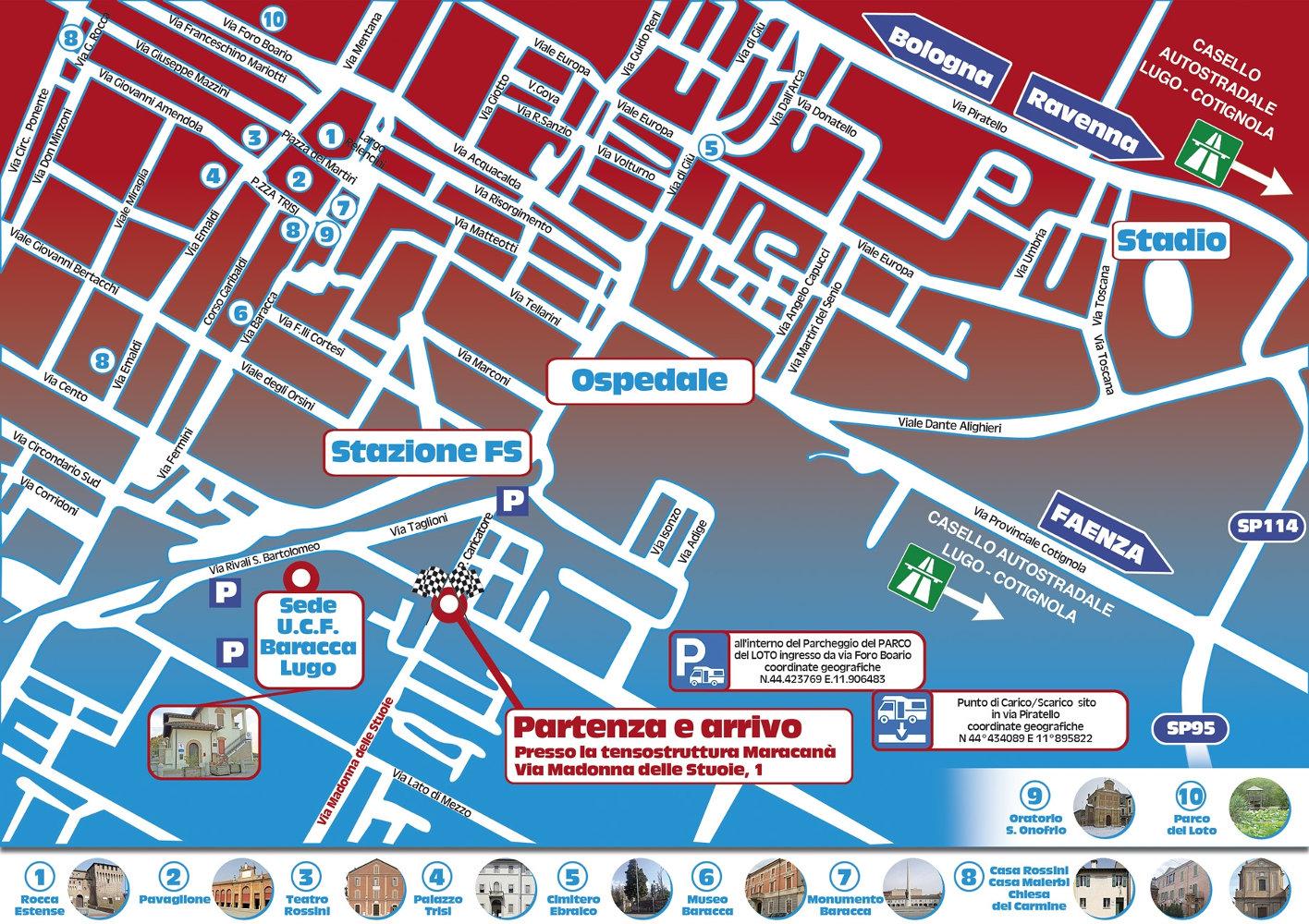 Mappa di Lugo con i punti di interesse